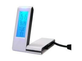 USB (2.0) hub 4-port, biely, podsvietený, hodiny, budík, časovač