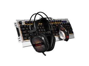 Marvo Sada klávesnica CM303, herná, strieborná, drôtová (USB), CZ/SK, shernou myšou a slúchadlami, membránová, podsvie