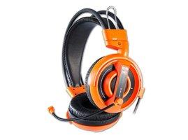 E-Cobra I, herné slúchadlá s mikrofónom, oranžová, 2x 3.5 mm jack