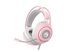 Marvo HG8936, slúchadlá s mikrofónom, ovládanie hlasitosti, ružová, podsvietená, 3.5 mm jack + USB